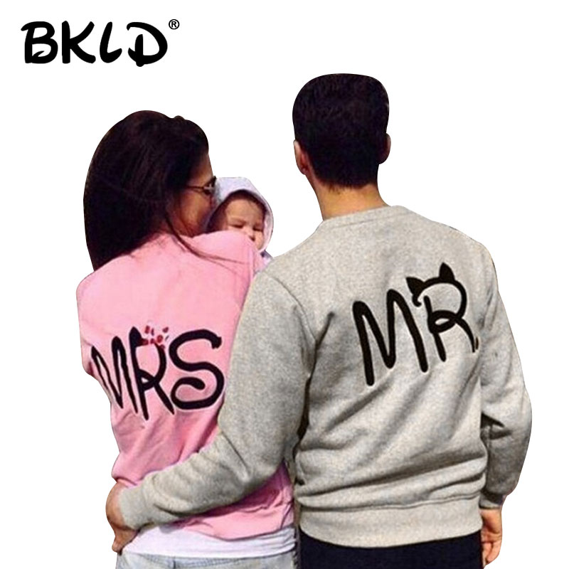 BKLD Matching Couples Hoodies Casual Autumn Long Sleeve O-neck Men And Women Lovers Hoodies Sweatshirts MR, MRS Letters Printed