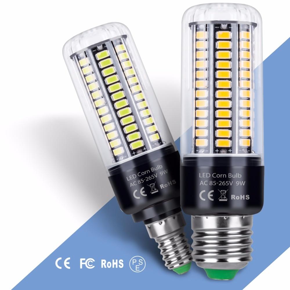 E27 LED 220V Lamps E14 110V Candle Corn Bulbs SMD5736 85-265V 3.5W 5W 7W 9W 12W 15W 20W Home Decoration Light Lampada No Flicker