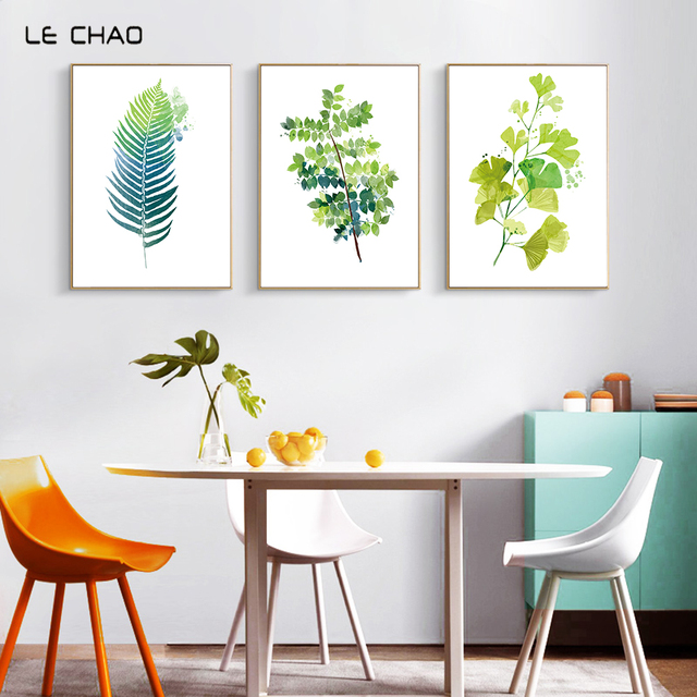 Lechao Nordic Palm Leaves Posters And Prints Watercolor Canvas Painting Wall Pictures For Living Room Simple