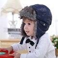 Детские и дети детей мальчики искусственного меха руно синий бомбардировщик шляпы новый 2016 зима теплая снег случайные earflap шляпы рождество подарки