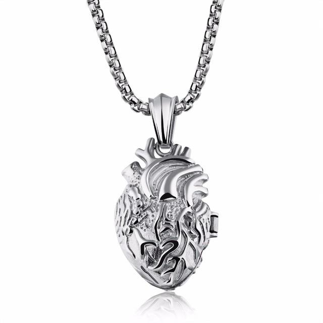 Acero inoxidable corazón anatómico humano órgano colgante collar ...