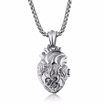 Human Anatomical Heart Locket Pendant Necklace Jewelry for Men Women  Mens Necklaces Women's Necklaces