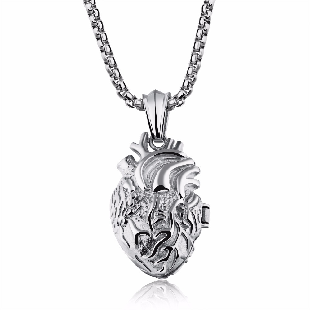Stainless Steel Anatomical Heart Human Organ Pendant Necklace Gothic Punk Jewelry for Men Women