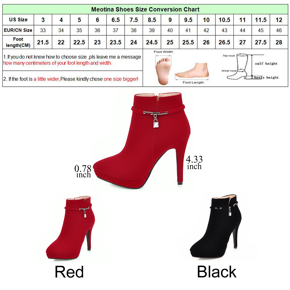8ae5364d16 Meotina Women Winter Boots High Heel Ankle Boots Zip Platform Shoes Pointed  Toe Ladies Sexy Velvet Boots 2018 Red Black 34-43