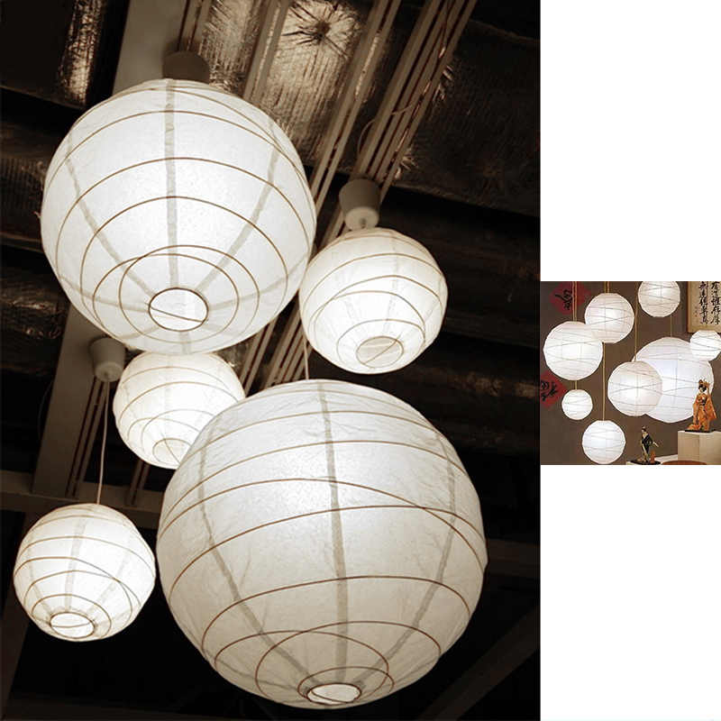 white suspension shade cotton paper + iron Hanging lampshade 45 x 45 x 45 cm