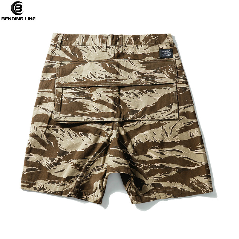 Bending line HIP HOP CAMO SHORTS 2018 Summer Men Top Design Camouflage Military Army Khaki Shorts Elastic Waist Knee Length