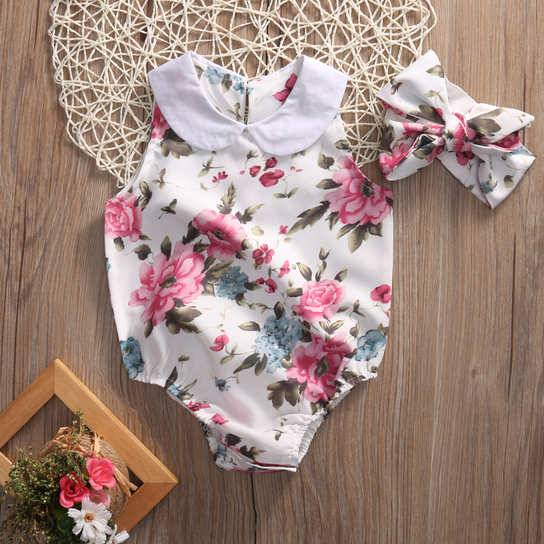 2pcs !! Summer Floral Newborn Infant Baby Girl Clothes Sleevleess Flower Romper Jumpsuit+Headband Baby Outfits Sunsuit Clothes 2017 floral baby romper newborn baby girl clothes ruffles sleeve bodysuit headband 2pcs outfit bebek giyim sunsuit 0 24m