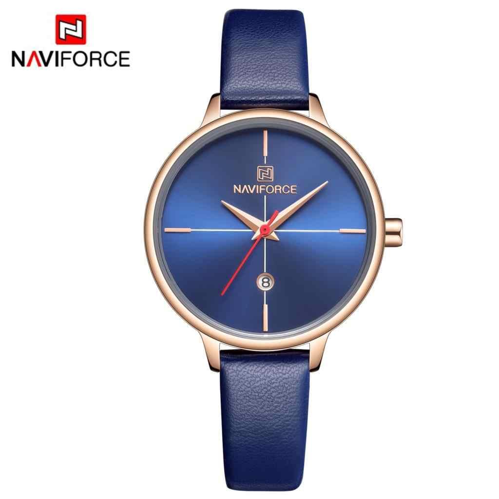 NAVIFORCE 女性腕時計ファッションクォーツ女性ブルー PU 時計バンド日付カジュアル 3ATM 防水腕時計ガール妻女性 2019