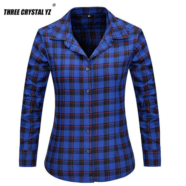 2016 New Fashion Girl's Plaid Flannel Shirt Female Long-sleeved Plaid Shirt Ladies Large Size Women's Tops