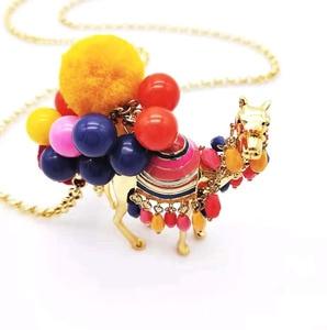 Image 3 - CSxjd di vendita Caldo palla di capelli di colore desert camel signore di modo della catena del maglione della collana del commercio allingrosso