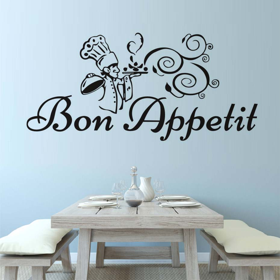 Bon Appetit Chef With Meal Wall Sticker Kitchenware Wall Decal ...