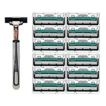 13 Pcs/Set 2 Layer Razor BladesTool 12 Blades+1 Knife Holder Shaver Razor Beard Trimmer For Men Cassette Manual Face Care Beard