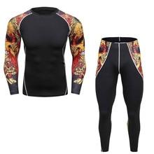 2017 Men Pro Fitness skulls Compression Sets Quick Dry Legging Top Workout Train Exercise long Pant Shirt men's sets
