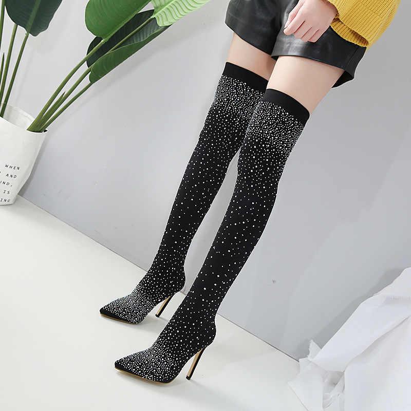 Kadın seksi parti T sahne çizme pist kristal streç kumaş çorap çizmeler sivri burun aşırı diz topuk uyluk yüksek sivri burun