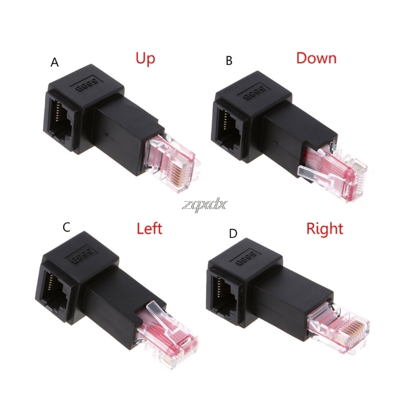 Multi-angle RJ45 Cat 5e Male to Female Lan Ethernet Network Extension Adapter Up/Down/Right/Left Angled Z09 Drop ship connector plug 90 degree left right up down usb male to female angled l shaped adaptors usb extension adapter