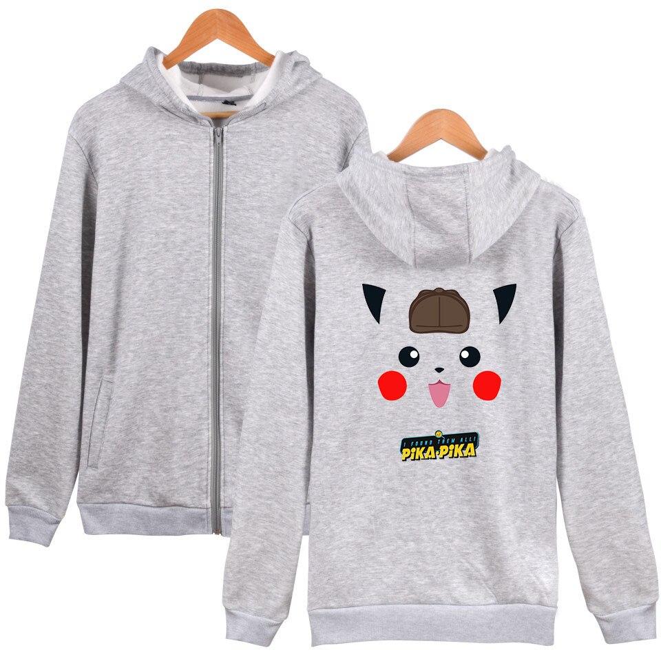 Pokemon Detective Pikachu Print Zipper Hoodies Fashion Sweatshirt Cute Women/men streetwear Hoodies Zippers