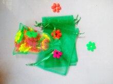 20 unids Hierba verde del regalo del organza bolsas 17×23 cm bolsos de fiesta para las mujeres evento casarse Con Cordón bolsa de La Joyería pantalla Bolsa de accesorios de bricolaje