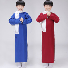 Children Chinese Robe with Scarf Boy Chinese Folk Costume Kids Long Teacher Costume Cosplay Clothes Chinese Ancient Costume 16