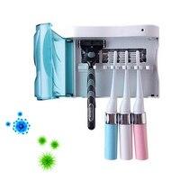 1 Set UV Electric Toothbrush Sanitizer Dental Care Family Toothbrush Sterilization Storage Case With 4pcs Brush