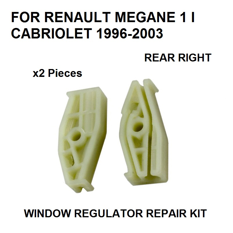 X2 PLASTIC PIECES 1996-2003 FOR RENAULT MEGANE I 1 CABRIOLET WINDOW REGULATOR REPAIR CLIP REAR-RIGHT NEW