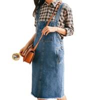 Весенняя однотонная джинсовая юбка на бретельках, женское платье с карманом, матовый подол, джинсовый ремешок, длина до колена, женский комб