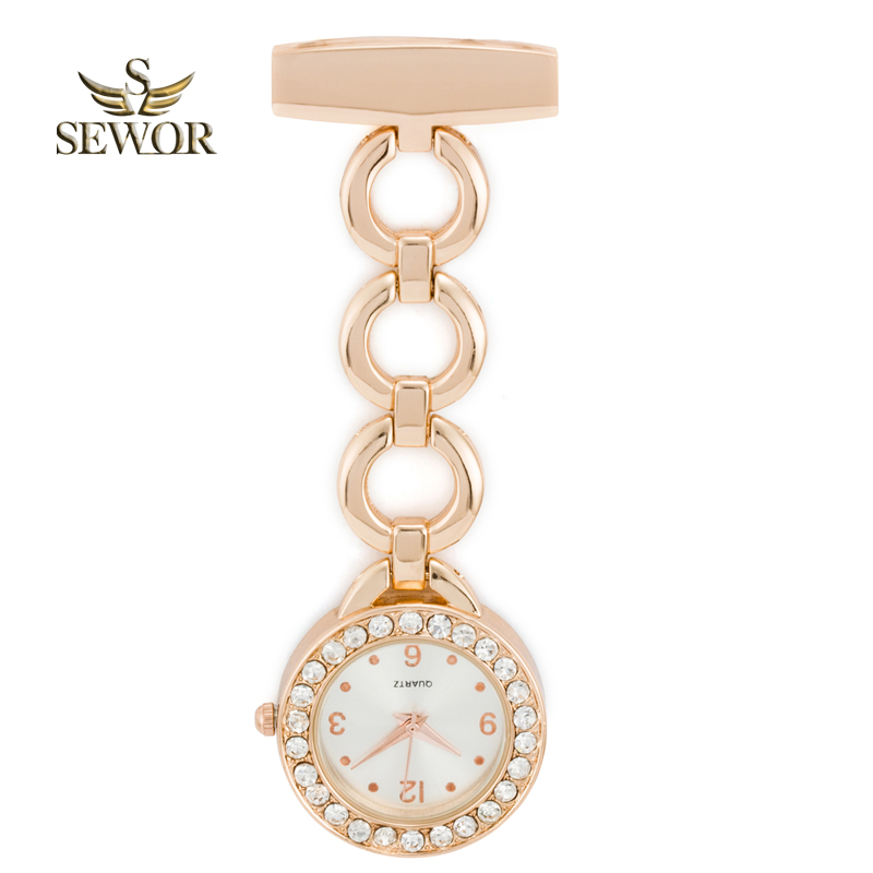 SEWOR 2019 Hot Fashion Three Ring Button Crystal Nurse Table Pendant Watch With Clip Brooch Chain Quartz Watch Rose Glod C179