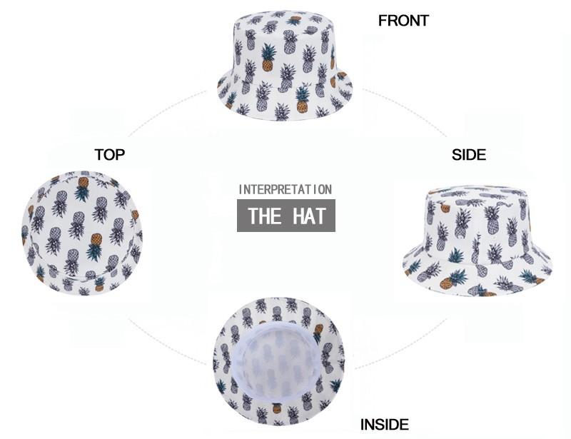 Fashion Pineapple Bucket Hat White Fishing Hat Unisex Gorras Bucket Cap  Bone Touca Fisherman Cap Bob Casquette Goldtop 1876021f08ba