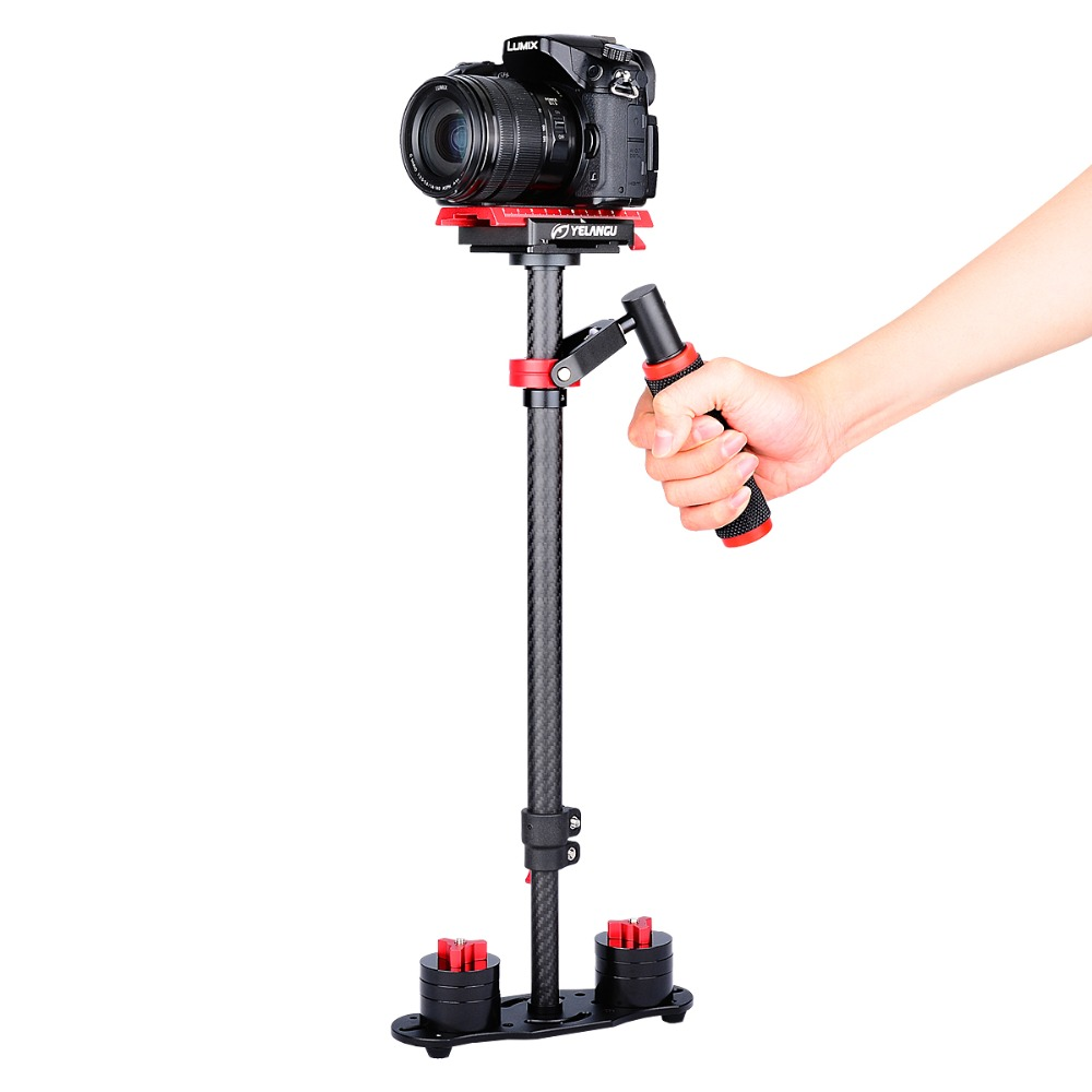 YELANGU S60T 60CM/24'' Carbon Fiber Handheld Camera Stabilizer With Quick Relase Plate For Dslr Weight Up to 3kgs 1sheet matte surface 3k 100% carbon fiber plate sheet 2mm thickness