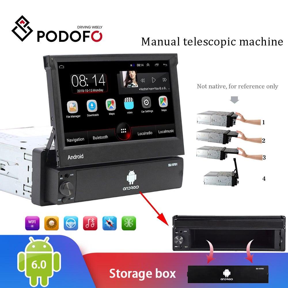 Podofo 1din Android のカーラジオ Autoradio 1 Din 7 ''タッチスクリーン車のマルチメディアプレーヤー GPS ナビゲーション Wifi の自動 MP5 bluetooth USB  グループ上の 自動車 &バイク からの 車用マルチメディアプレーヤー の中 1