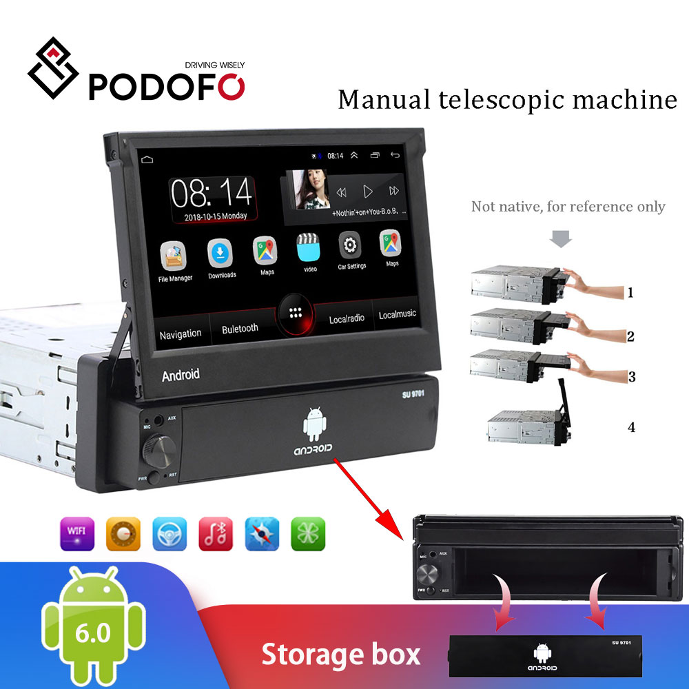 Podofo 1din Android Car Radio Autoradio 1 Din 7'' Touch Screen Car Multimedia Player GPS Navigation Wifi Auto MP5 Bluetooth USB image