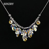 SINZRY Jewelry Imported Crystal Brilliant Chokers Necklaces Luxury 925 Sterling Silver Handmade Austria Crysal Pendant Jewelry
