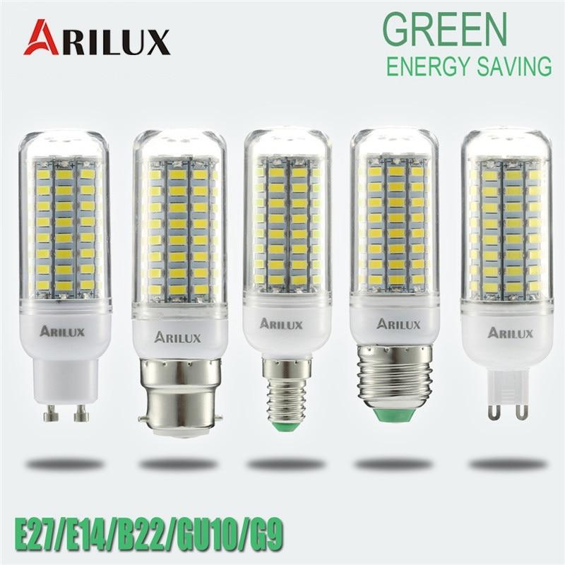 ARILUX Warm/Pure Light 89 LED E27 E14 B22 GU10 G9 SMD5730 Constant Current Smart IC Corn LED Light Bulb AC220V 5W
