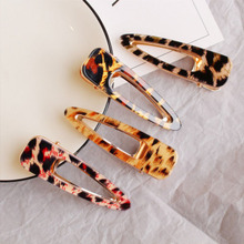 Japan Vintage Colorful Acetate Hair Accessories For Women Geometric Waterdrop Leopard Hairpin Clips Jewelry