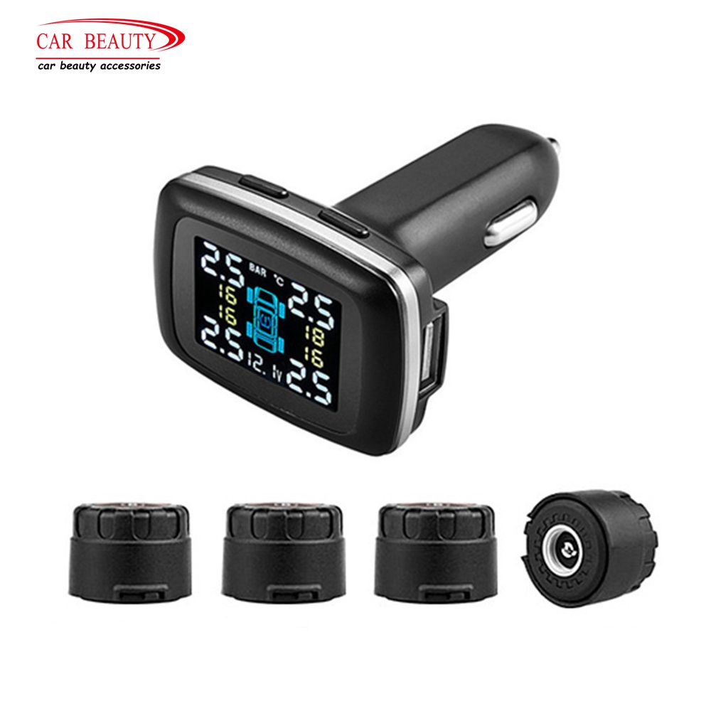 Smart Car TPMS Tire Pressure Monitoring System with 4 External Sensors Auto Security Alarm Systems for Tyre Cigarette Lighter universal car auto tpms tire tyre pressure monitoring system led display with 4 external sensors