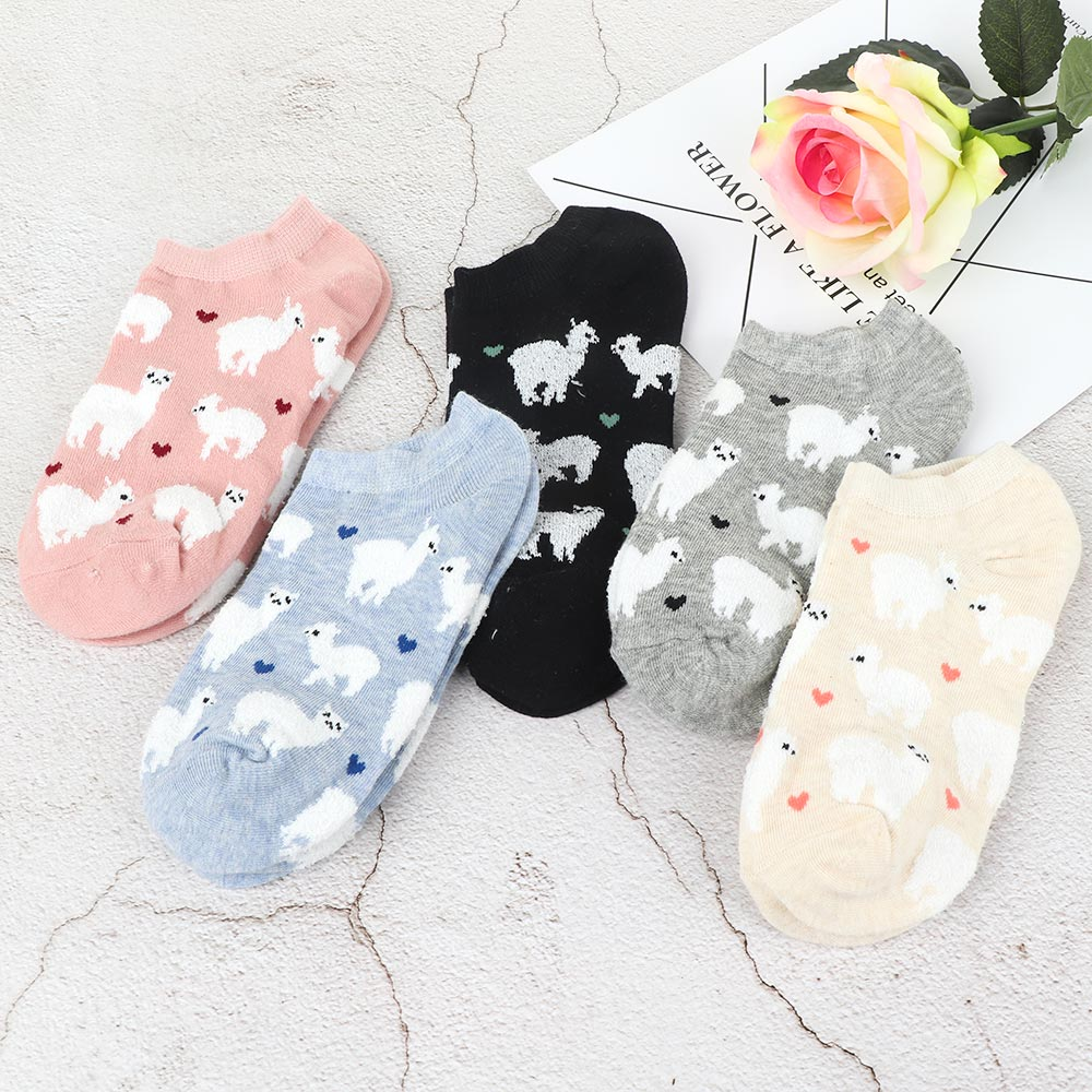 Cozy Cotton Short Ankle Invisible Tiny Alpacas Love Hearts   Socks   Zoo Animal Llama like Fluffy Sheep Comfortable 5 colors