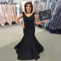 Black Long Mermaid Wedding Party Mother Dress 2018 Plus Size Sleeveless Lace Satin Floor Length Mother Of The Bride Dresses
