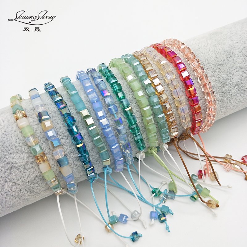 Shuangsheng Bling Women's Crystal Bracelet Square Colorful Bead Friendship Bracelet Adjustable Bohemian Beach Jewelry Girl Gife pdrh010 colorful glass bead classic bracelet