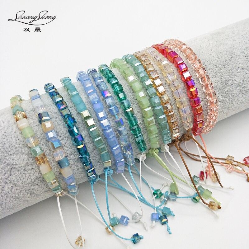 Shuangsheng Bling Women's Crystal Bracelet Square Colorful Bs