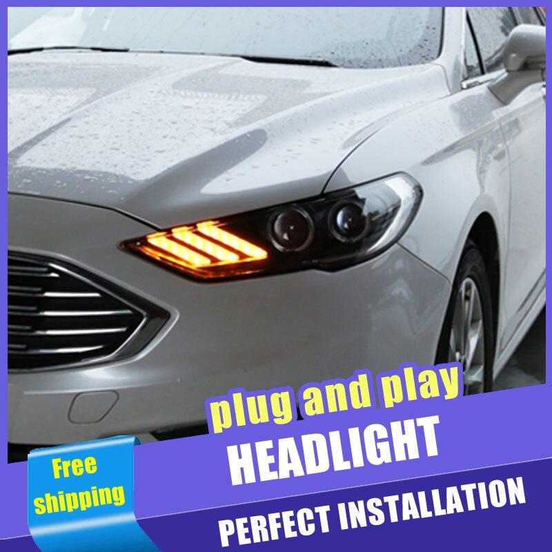 2 pièces voiture Style LED phares pour Ford Fusion Mondeo 2017-2020 pour Mondeo lampe frontale LED DRL lentille Double faisceau H7 caché lentille xénon