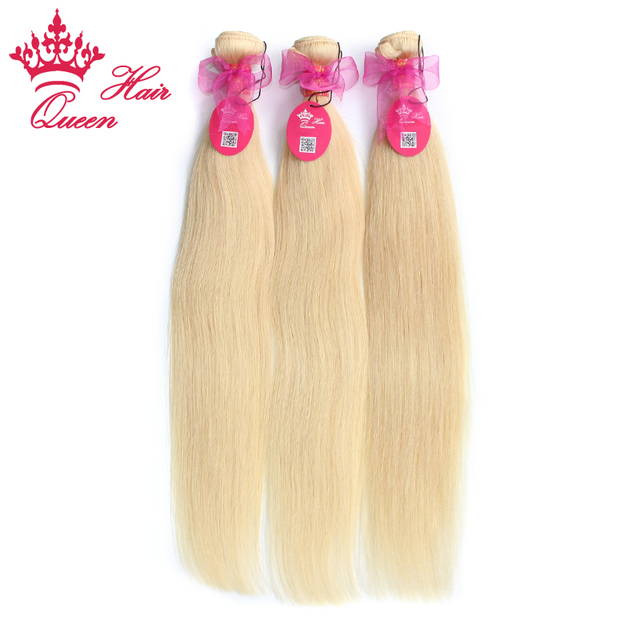Queen Hair Products Bleach Blonde color 613 Brazilian Virgin Hair Straight 3pcs/lot 100% human hair DHL Free Shipping