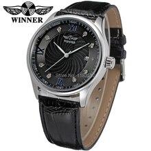 Новый Победитель Повседневная Автоматические Часы Мужчины Горячие продажи Автоматические моды для Мужчин Часы черный кожаный ремешок Доставка Бесплатно WRG8024M3S6