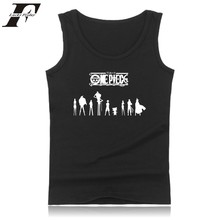 One Piece Cartoon Logo Summer Vest Tank Top font b Mens b font Bodybuilding And Plus