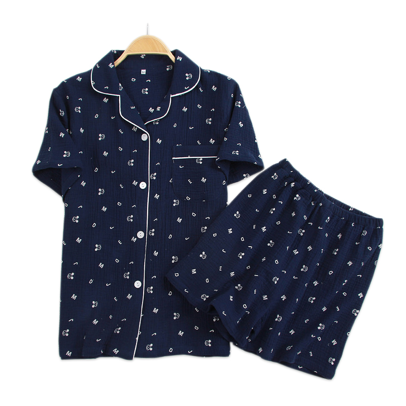 Soft crape cotton Couple shorts   pajamas     sets   women short sleeve sleepwear 100% cotton pyjamas women pijama de nightwear summer