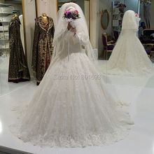 Oumeiya OW556 With Hijab Ball Gown High Neck Long Sleeve Islamic Lace Wedding Dress 2016
