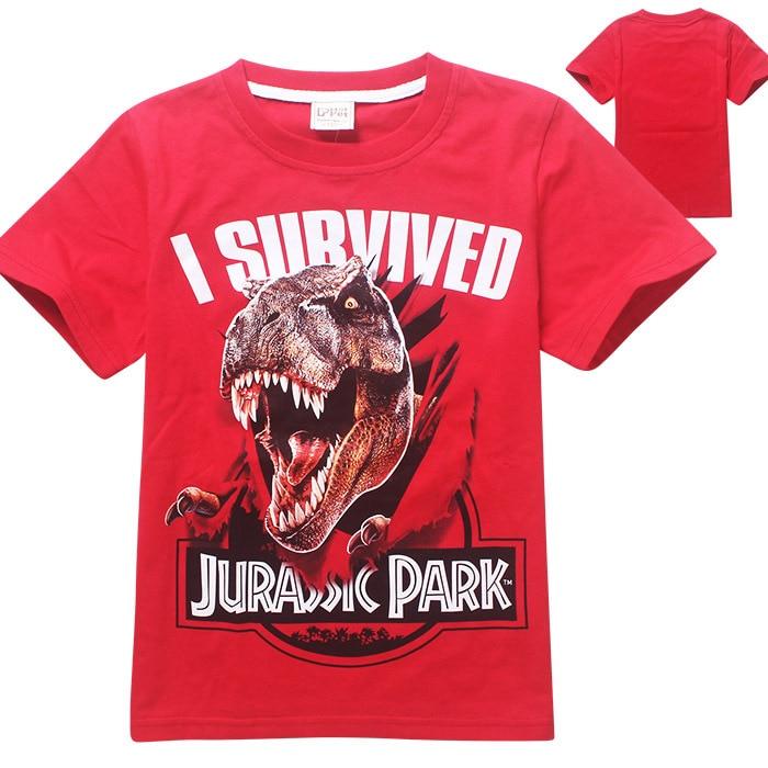 Gray Jurassic Park I Survived Boys//Kids Short Sleeve T-Shirt