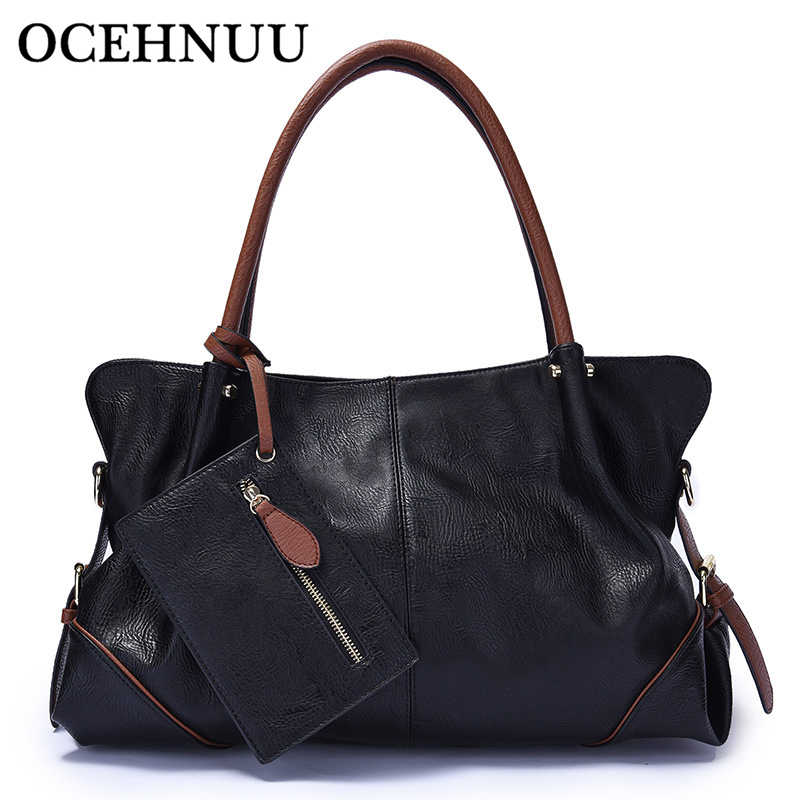 OCEHNUU Big Women PU Leather Handbags Large Capacity Messenger Shoulder Bags For Woman 2019 Zipper Ladies