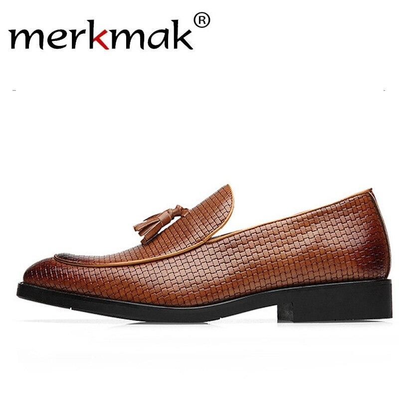 Merkmak Sapatos De Couro Formais Dos Homens Mocassins Borla PU Tijolo Padrão Tamanho Grande 48 Simples Deslizamento Homem Calçados Casuais Gradiente cor