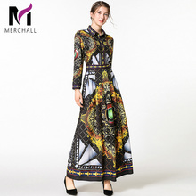 Merchall High Quality Designer Runway Dress Long Sleeve Turn Down Collar Women Vintage Print Slim Party Maxi Dresses