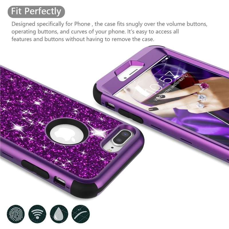 Luxury Hard Case For iPhone 8 7 6 6S Plus Case Glitter Bling Crystal PC Cover Cute Girls For iPhone 7 6 6s 8 Plus Case Silicone in Fitted Cases from Cellphones Telecommunications