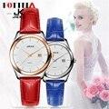 JK FOTINA Top Brand Mujeres Reloj de Cuero Genuino Negro Rojo Azul reloj Día Fecha Reloj de Los Hombres de Las Señoras Reloj de Negocios Negro Mujer
